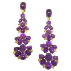 Amethyst Fancy Yellow Diamond Gold Earrings