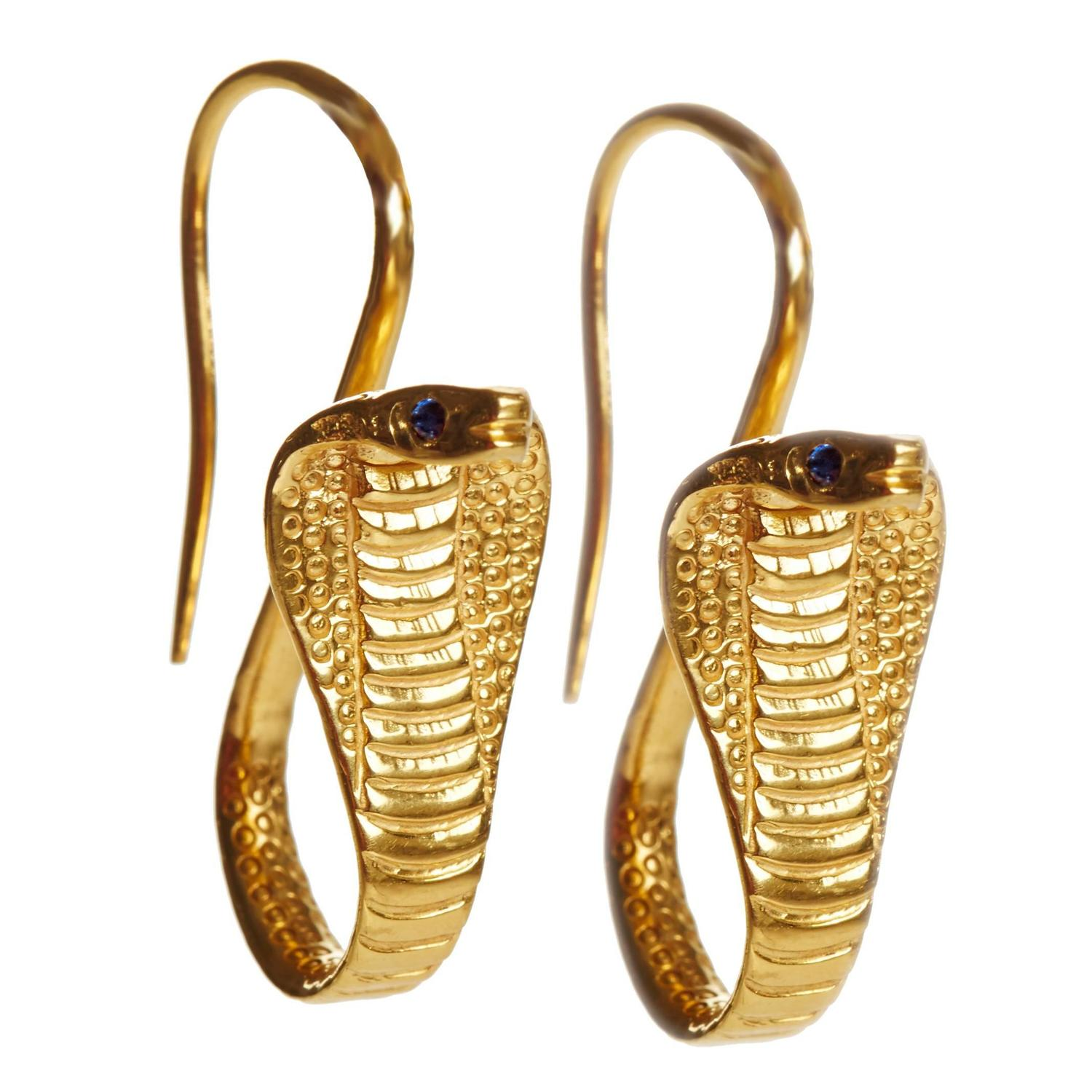 18K Gold Cobra Earrings with Sapphire Eyes at 1stdibs