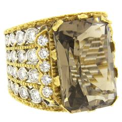 Buccellati Impressive Smokey Topaz Diamond Gold Ring