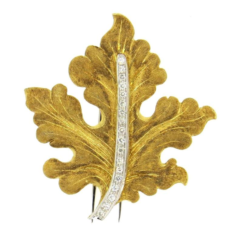 Buccellati Diamond Gold Leaf Brooch Pin