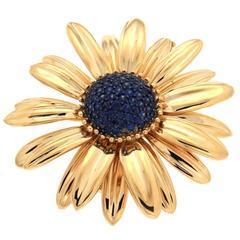 Valentin Magro Blue Sapphire Gold Daisy Brooch