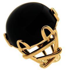 Trellis Black Jade Ring in Gold