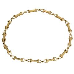 Gold Cleat Necklace with Textured Plates
