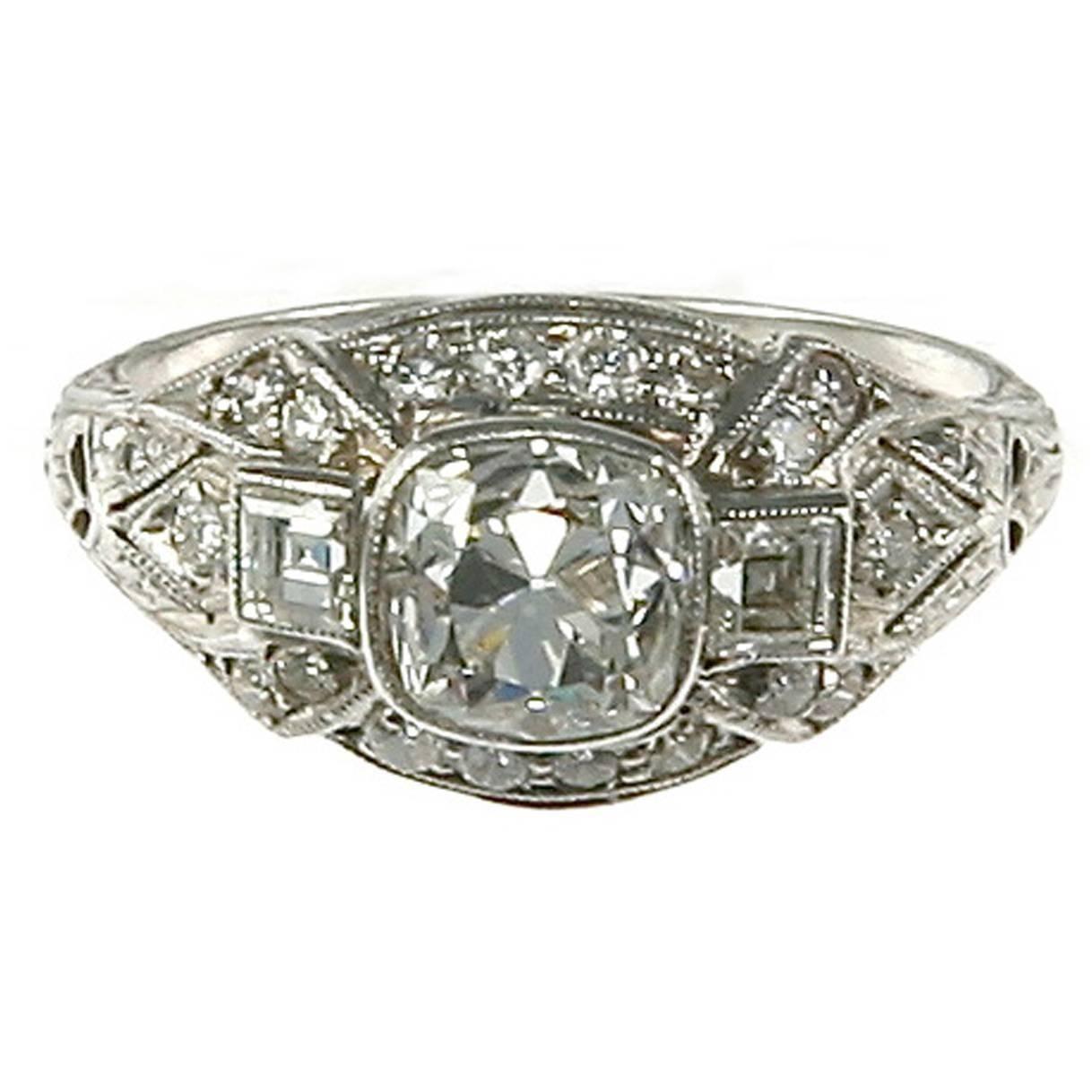 Art Deco Cushion-Cut Diamond Platinum Ring