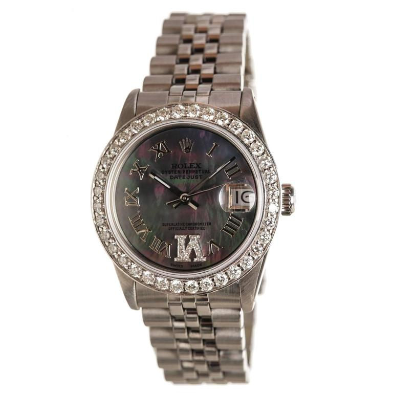 Rolex Stainless Steel Diamond Mother Of Pearl Datejust