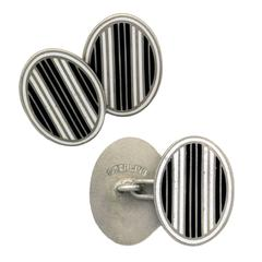 Past Era Bold Art Deco Black and White Striped Enamel Silver oval Cufflinks