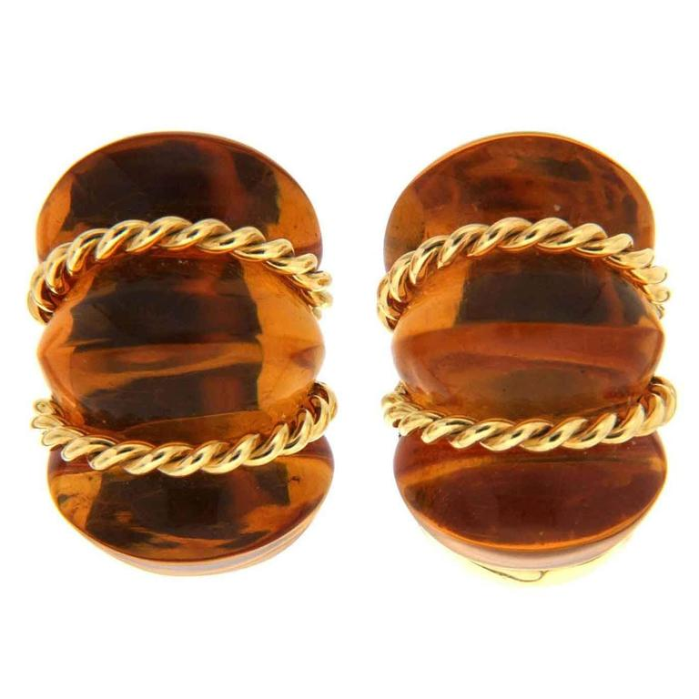 Amber Twisted Gold Wire Shrimp Earrings