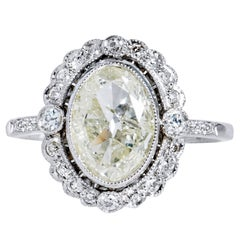 GIA Certified 1.26 Carat Natural Light Yellow Diamond Platinum Engagement Ring