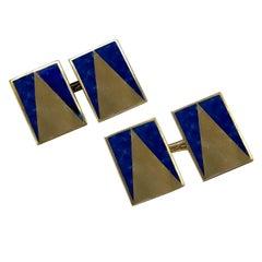 Art Deco Lapis Gold Cufflinks