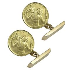 Paul Vincze St. Christopher Gold Cufflinks
