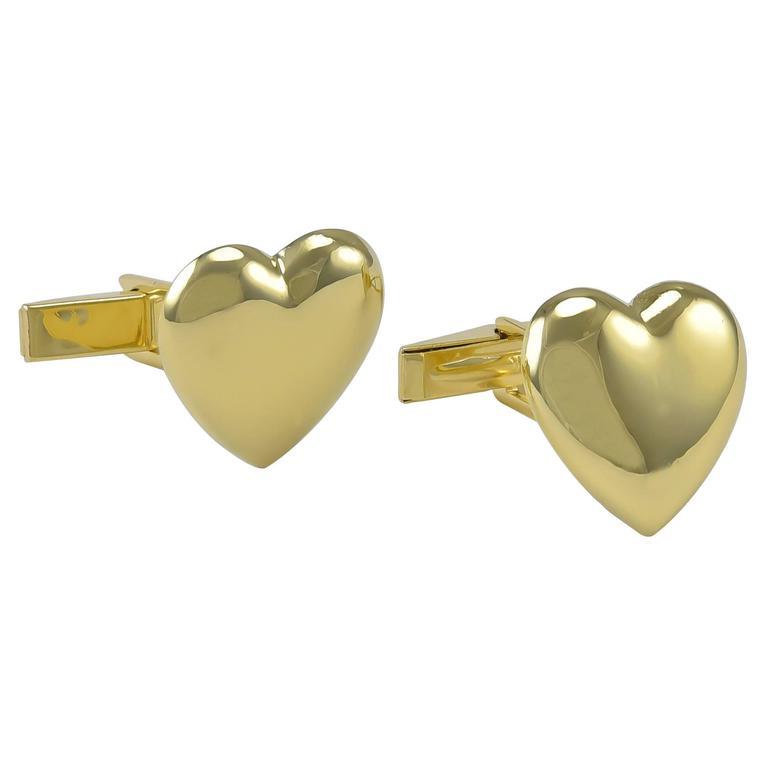 Heart-shaped Gold Cufflinks