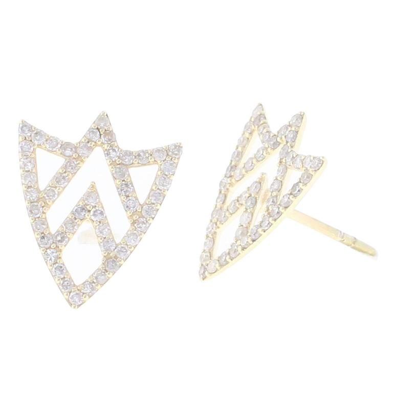 Chevron Shield Yellow Gold and White Diamonds Stud Earrings