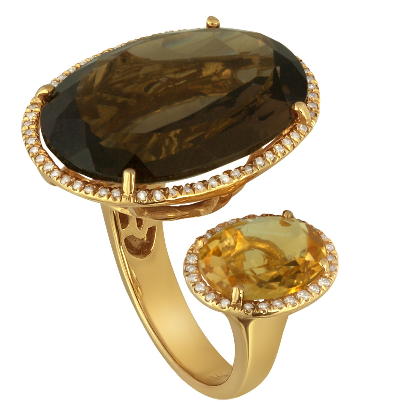 19.75 Carats Smoky Quartz and Citrine Diamonds Gold Ring