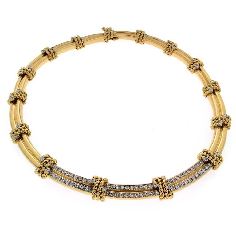 Diamond Gold Double Line Rope Motif Necklace