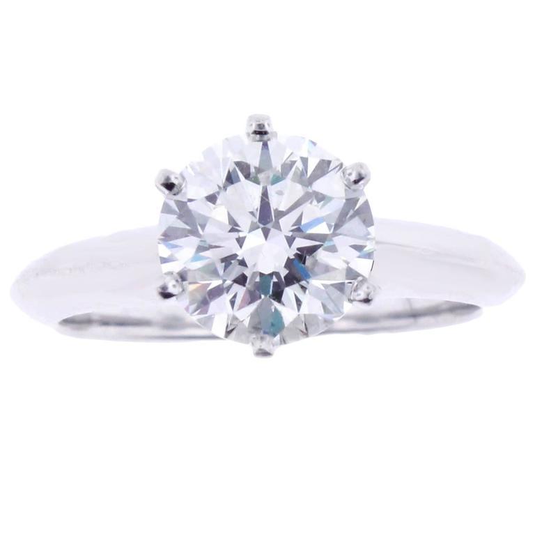 Tiffany & Co. 1.64 Carat Diamond Platinum Engagement Ring 1