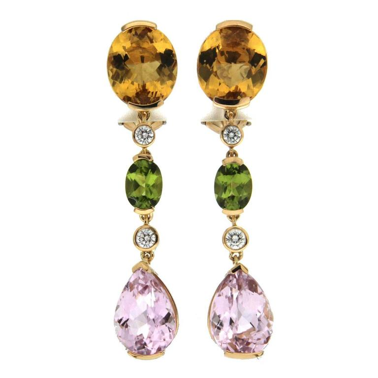 Yellow Beryl Oval Peridot Pear Drop Morganite Gold Earrings