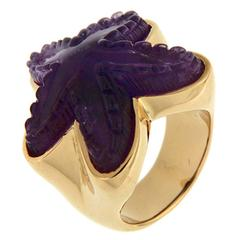 Amethyst Gold Starfish Ring