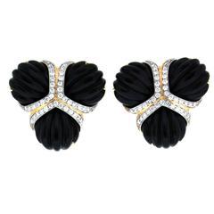 Black Jade & Diamonds Fan Earrings