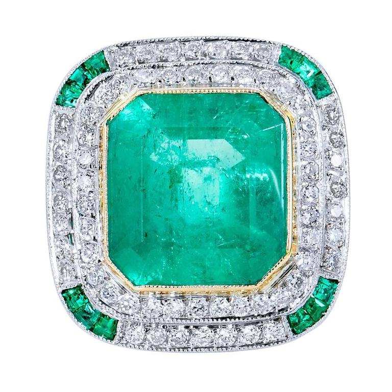 7.44 Carat Colombian Emerald Gold Platinum Cocktail Ring