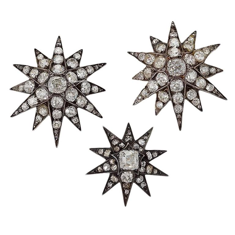 Antique Set of 3 Diamond Silver Top Gold Star Brooches For Sale