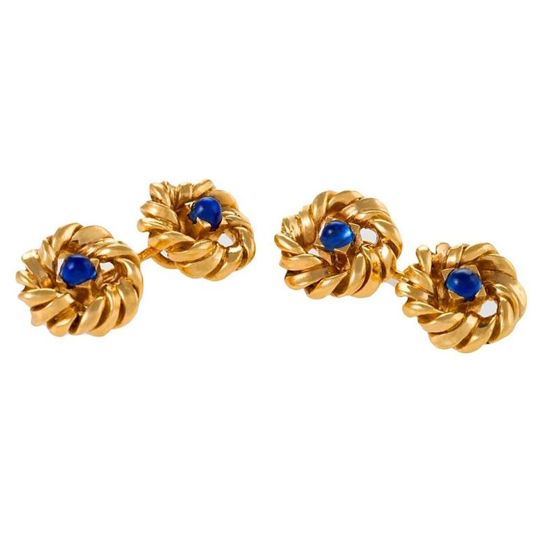 Van Cleef & Arpels Paris 1950s-1960s Sapphire and Gold Cufflinks