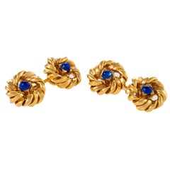 Van Cleef & Arpels Paris 1950s-1960s Sapphire and Gold Cuff Links