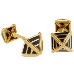 Schlumberger for Tiffany & Co. Mid-20th Century Gold and Enamel Cuff Links