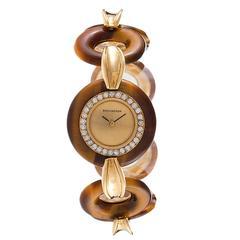 Boucheron Paris 1960s Yellow Gold Tiger's Eye Wristwatch