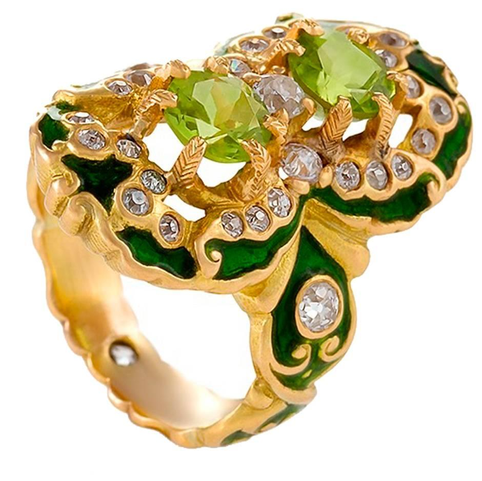 Marcus & Company Art Nouveau Peridot, Diamond, Gold and Enamel Ring
