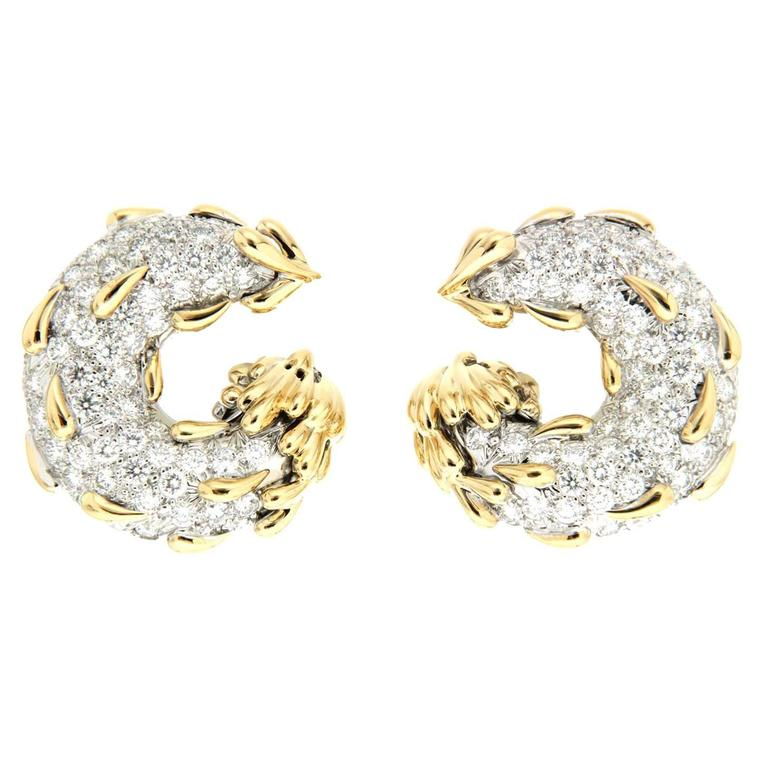 Circle and Tear Drop Diamond Gold Platinum Earrings For Sale