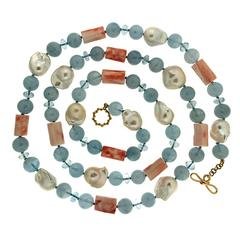 Valentin Magro Coral Tube Aquamarine Ball Freshwater Pearl Necklace