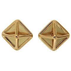 Small Gold Pyramid Earrings