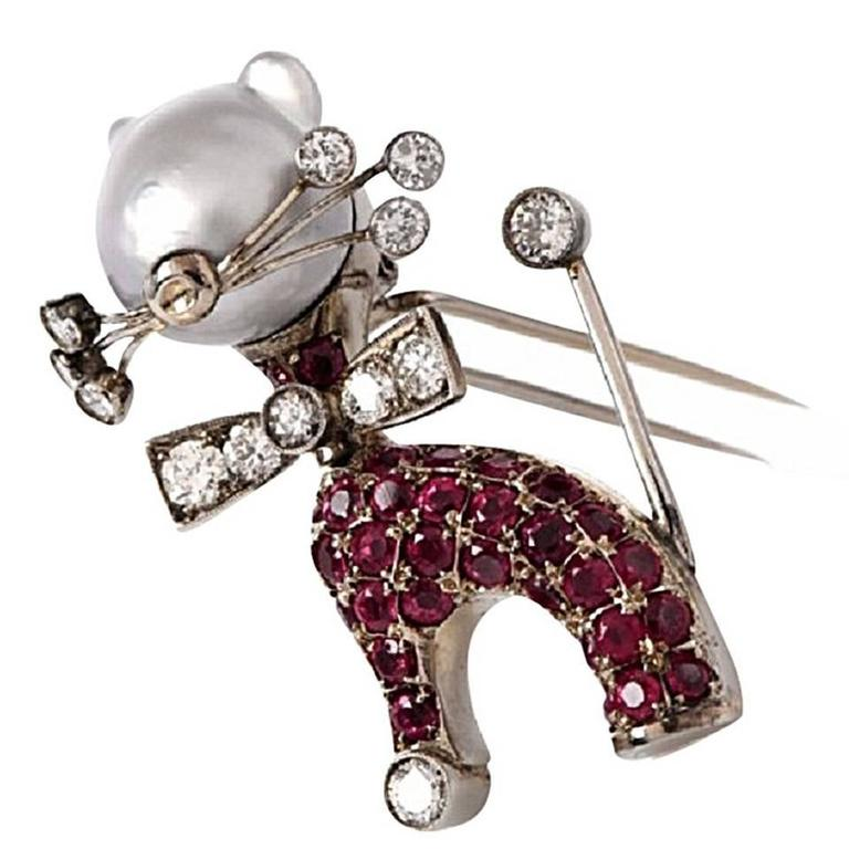 Nardi Ruby Diamond gold Cat Lapel Brooch