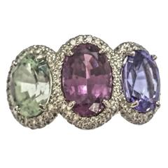 Green Garnet Spinel Tanzanite pave diamond Three Stone Ring