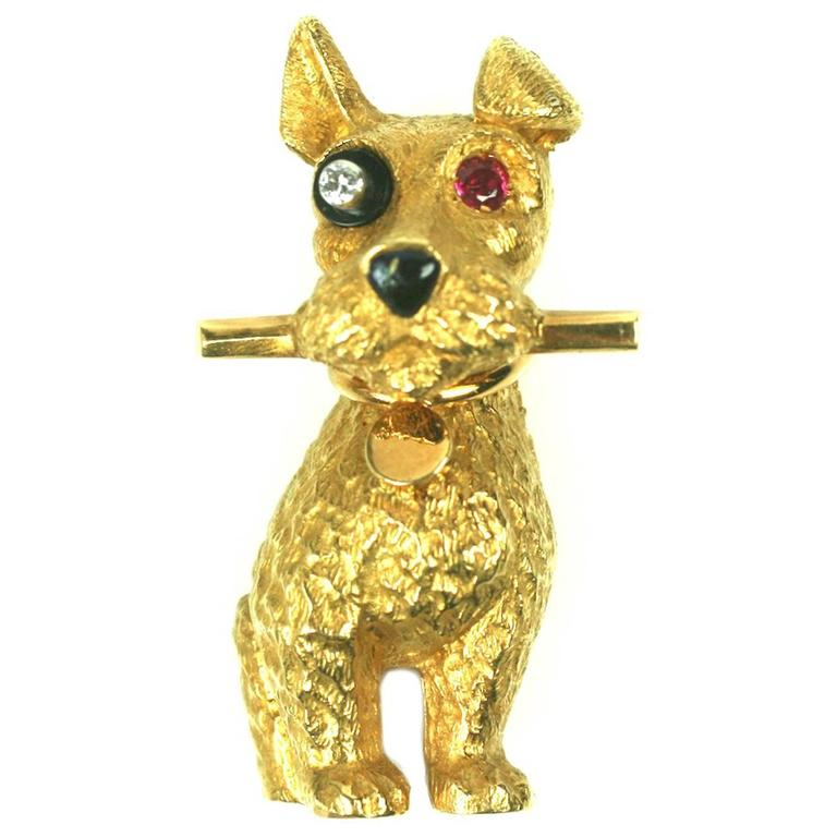 Cartier Charming Onyx Diamond Ruby Gold Terrier Clip