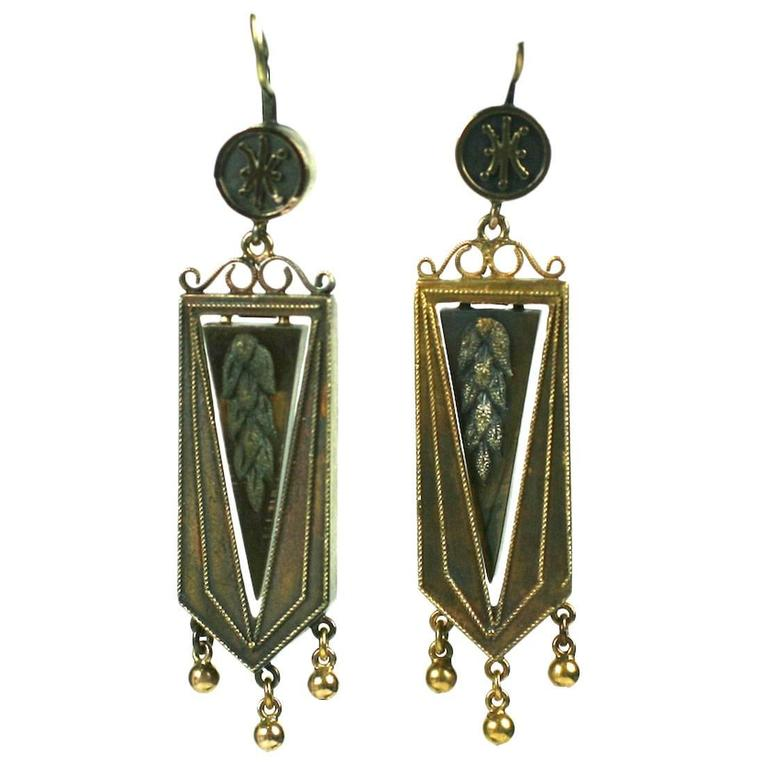 Articulated Victorian Gold Wheat Earrings For Sale