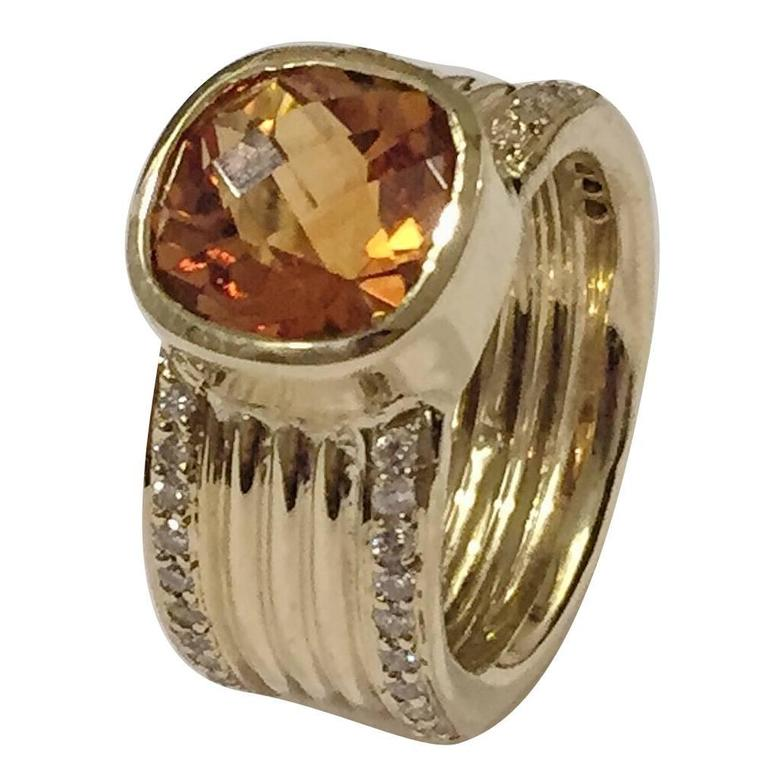 Citrine Diamond Gold Wide band ring