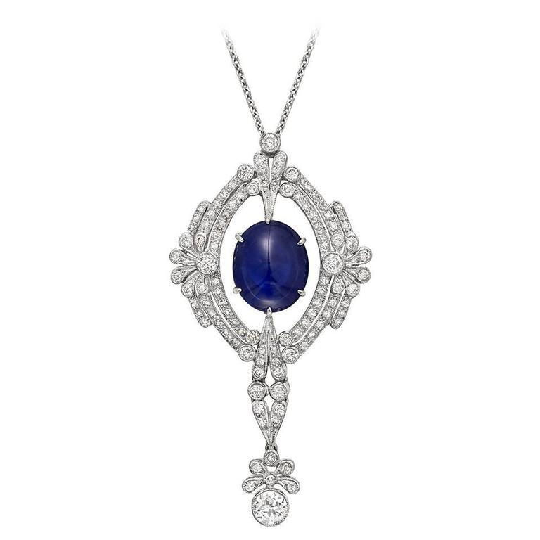 Cabochon sapphire diamond pendant necklace at 1stdibs cabochon sapphire diamond pendant necklace for sale mozeypictures Choice Image