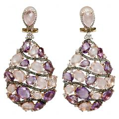 Manfredi Laser-Cut Amethyst Diamond Gold Drop Earrings