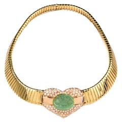 Emerald Diamond Gold Flexible Snake Choker Necklace