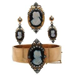 Victorian Agate Cameo Diamond Gold Pin Brooch Pendant Bangle Bracelet Earrings