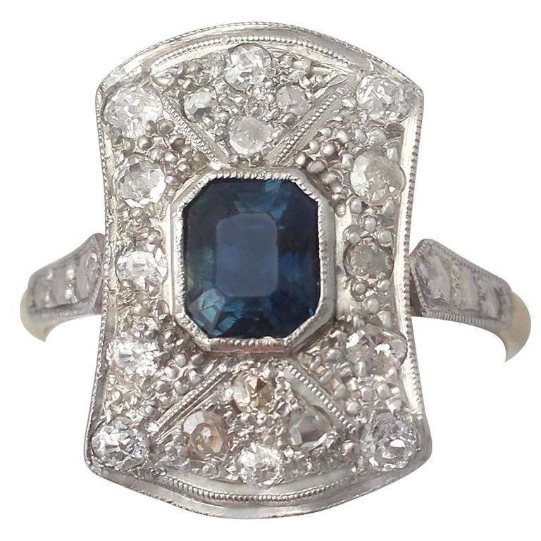 1920s 1.20 Carat Sapphire and Diamond Yellow Gold Platinum Set Cocktail Ring