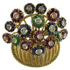 Tiffany & Co. En Tremblant Gemset Gold Flower Basket