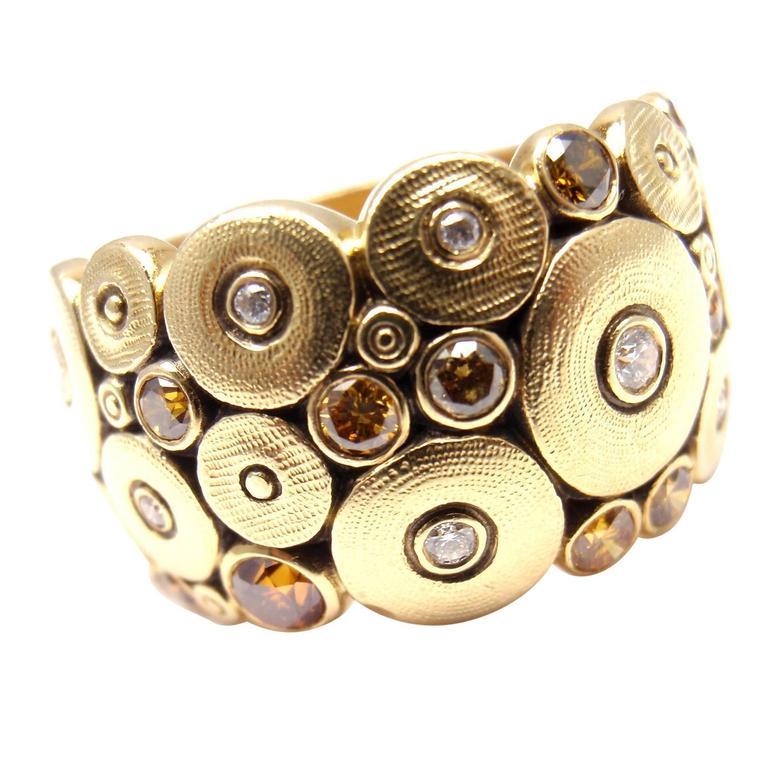 72206b35da8 Alex Sepkus Natural Color Diamond Wide Ocean Gold Band Ring at 1stdibs