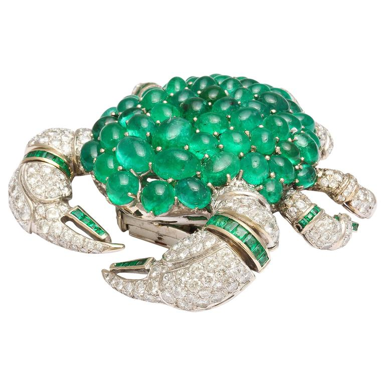 Stunning  Emerald Diamond Gold Crab Brooch