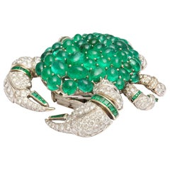 Stunning Emerald Diamond Gold Crab Brooch
