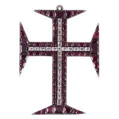 Georgian Garnet and Paste Cross