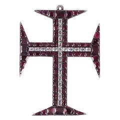 Georgian Garnet and Paste Cross
