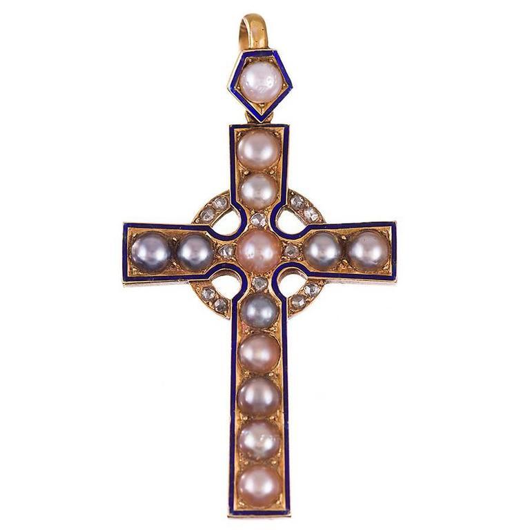 Victorian Pearl Enamel Diamond Gold Cross Pendant, circa 1880 1