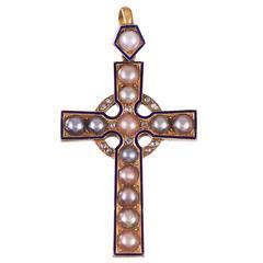 Victorian Pearl Enamel Diamond Gold Cross Pendant, circa 1880